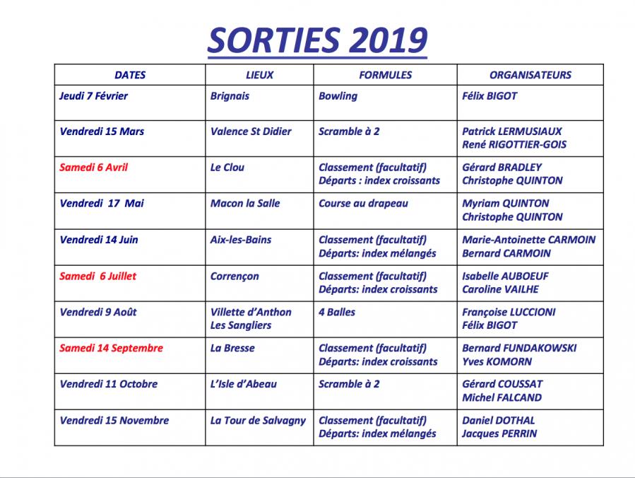 Calendrier des sorties 2019