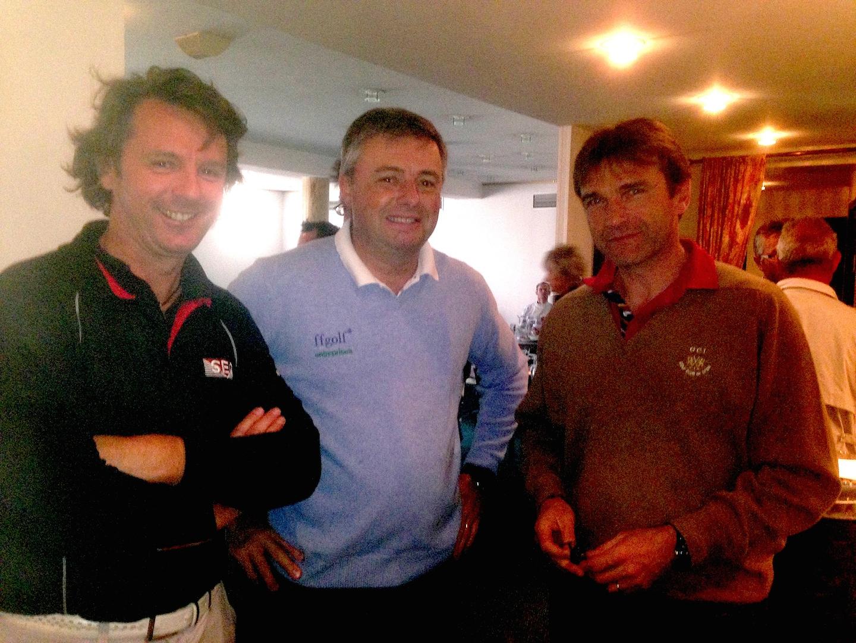 Lawrence Defay, organisateur de la journée, Pascal Baron, président de Golf Entreprise Rhône-Alpes et Jean-Marc Feuillas