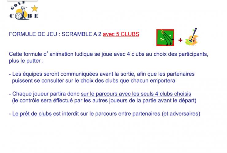 Reglement scramble a 2 avec 5 clubs